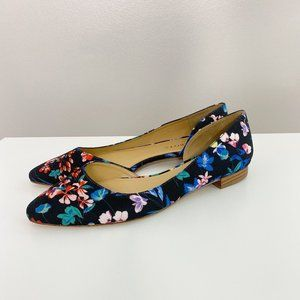 Talbots Black and Floral Print Pointed Toe Flats